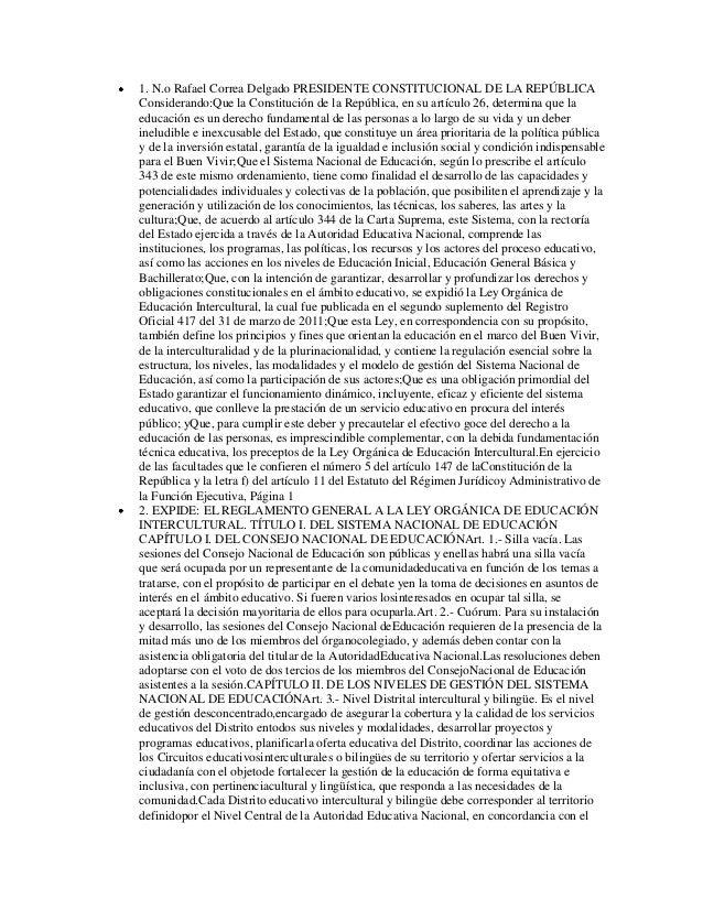 1. N.o Rafael Correa Delgado PRESIDENTE CONSTITUCIONAL DE LA REPÚBLICAConsiderando:Que la Constitución de la República, en...