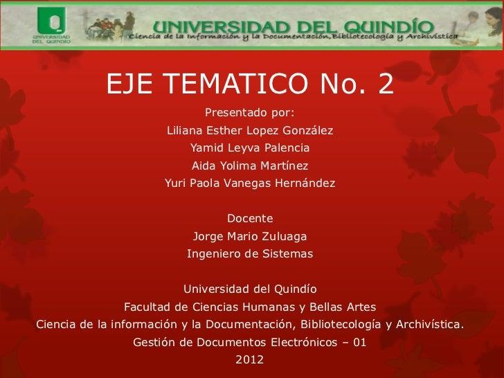 EJE TEMATICO No. 2                              Presentado por:                       Liliana Esther Lopez González       ...