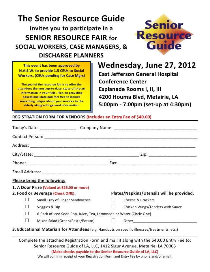 Ejgh Resource Fair Vendor Registration Form