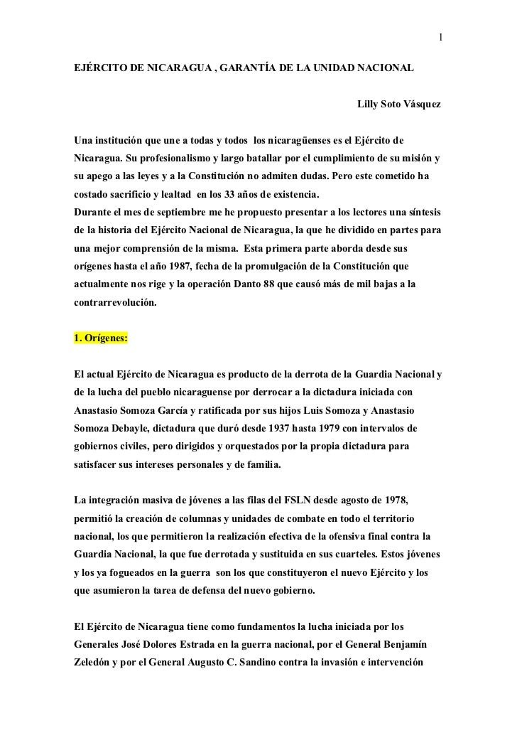 1EJÉRCITO DE NICARAGUA , GARANTÍA DE LA UNIDAD NACIONAL                                                                  L...