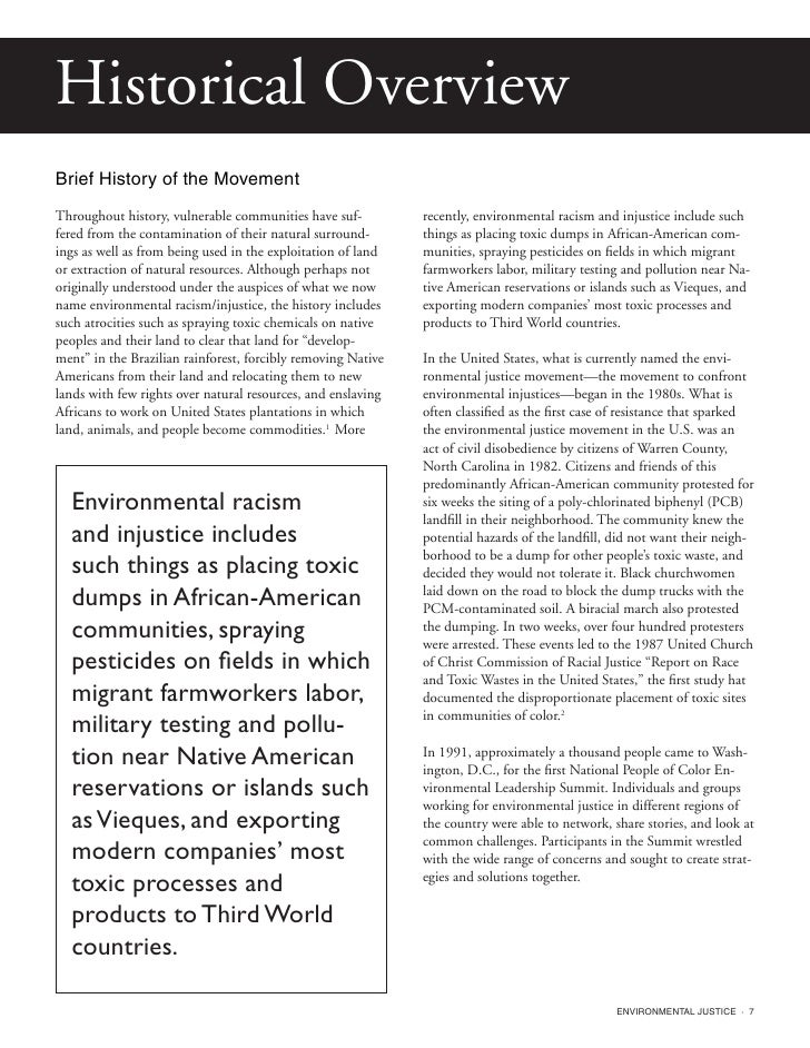an analysis of the concept of environmental racism Environmental racism not only for the rigor of the analysis the definition of environmental racism as racial discrimination in environmental policy.