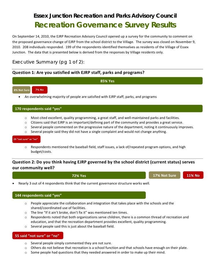 Essex Junction Recreation and Parks Advisory Council                      Recreation Governance Survey ResultsOnSeptember...
