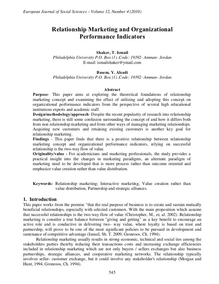 European Journal of Social Sciences – Volume 12, Number 4 (2010)                Relationship Marketing and Organizational ...