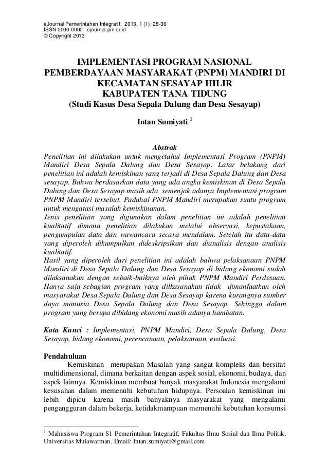 eJournal Pemerintahan Integratif, 2013, 1 (1): 28-36 ISSN 0000-0000 , ejournal.pin.or.id © Copyright 2013  IMPLEMENTASI PR...