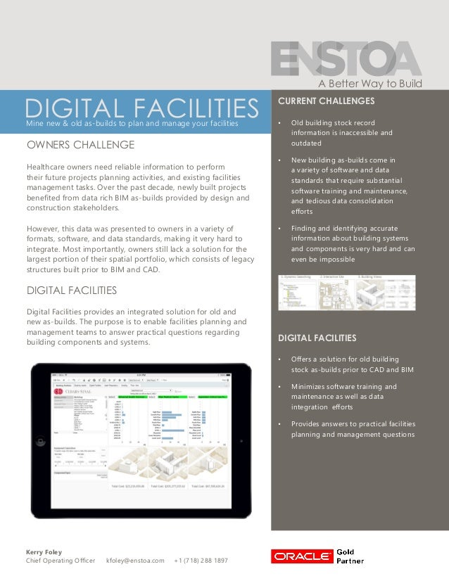 Kerry Foley Chief Operating Officer kfoley@enstoa.com +1 (718) 288 1897 A Better Way to Build DIGITAL FACILITIESMine new &...