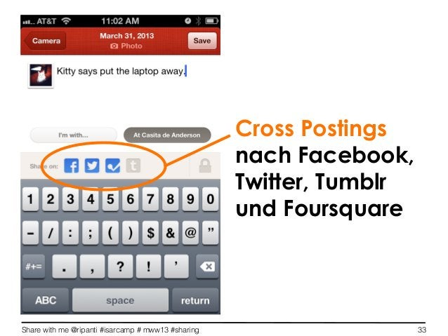 Share with me @ripanti #isarcamp # mww13 #sharing 33Cross Postingsnach Facebook,Twitter, Tumblrund Foursquare