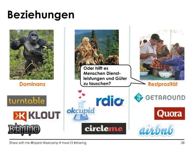 Share with me @ripanti #isarcamp # mww13 #sharing 38Dominanz ReziprozitätBeziehungenOder hilft esMenschen Dienst-leistunge...