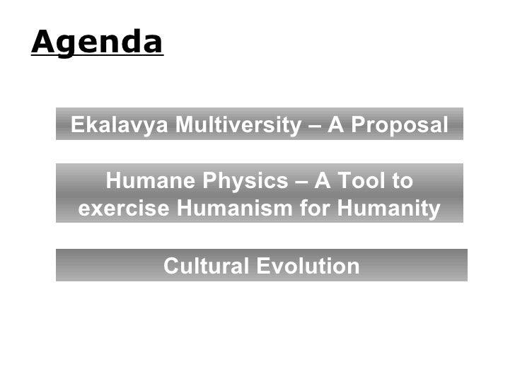 Agenda Humane Physics – A Tool to exercise Humanism for Humanity Cultural Evolution Ekalavya Multiversity – A Proposal
