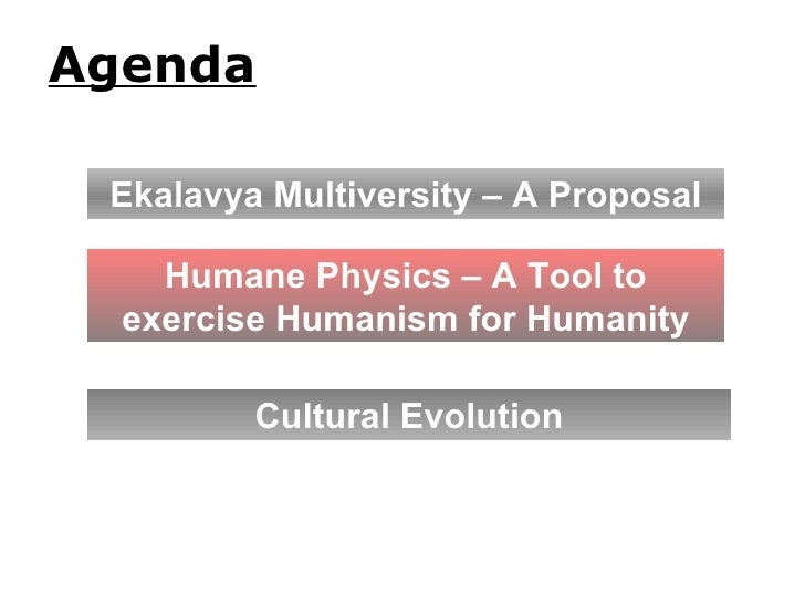 Agenda Cultural Evolution Ekalavya Multiversity – A Proposal Humane Physics – A Tool to exercise Humanism for Humanity