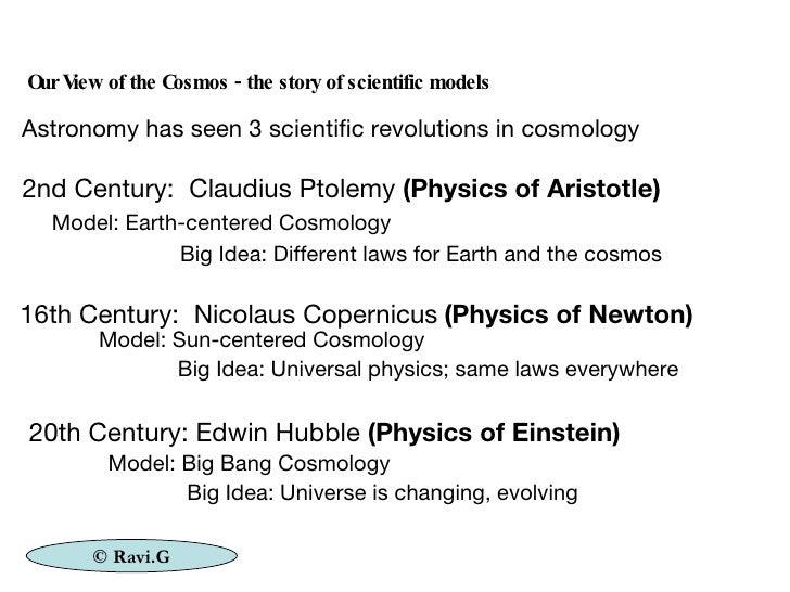 2nd Century:  Claudius Ptolemy  (Physics of Aristotle) Model: Earth-centered Cosmology Big Idea: Different laws for Earth ...