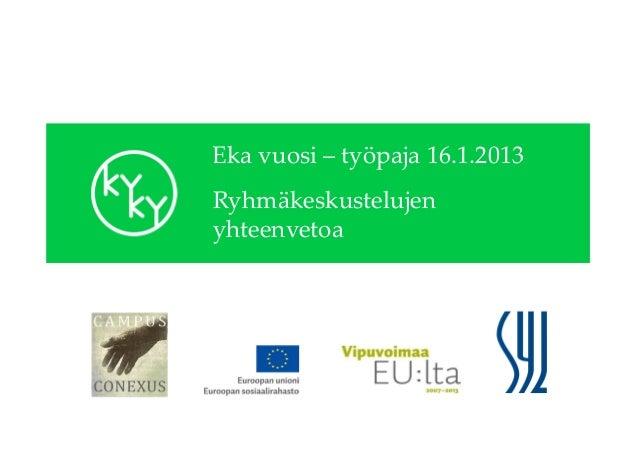 Eka vuosi – työpaja 16.1.2013Ryhmäkeskustelujenyhteenvetoa