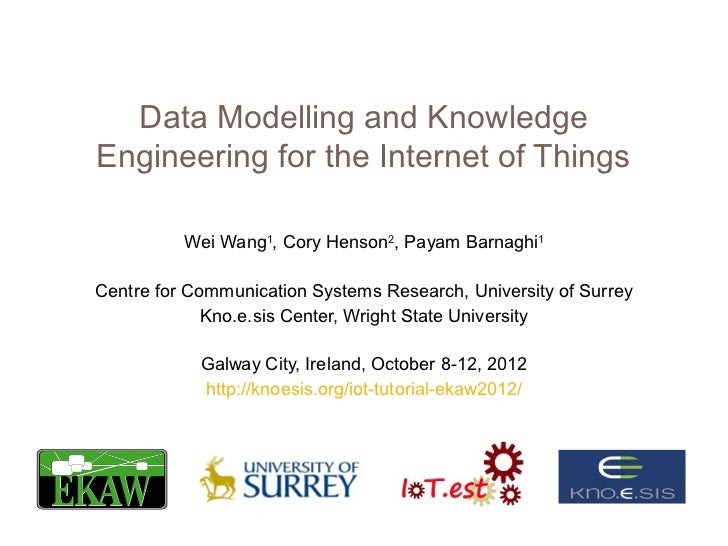 Data Modelling and KnowledgeEngineering for the Internet of Things          Wei Wang1, Cory Henson2, Payam Barnaghi1Centre...