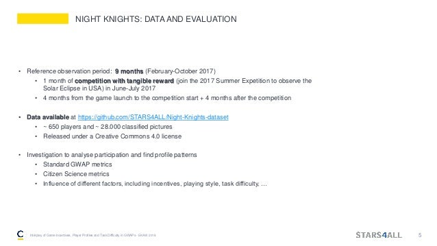 NIGHT KNIGHTS: DATA AND EVALUATION • Reference observation period: 9 months (February-October 2017) • 1 month of competiti...