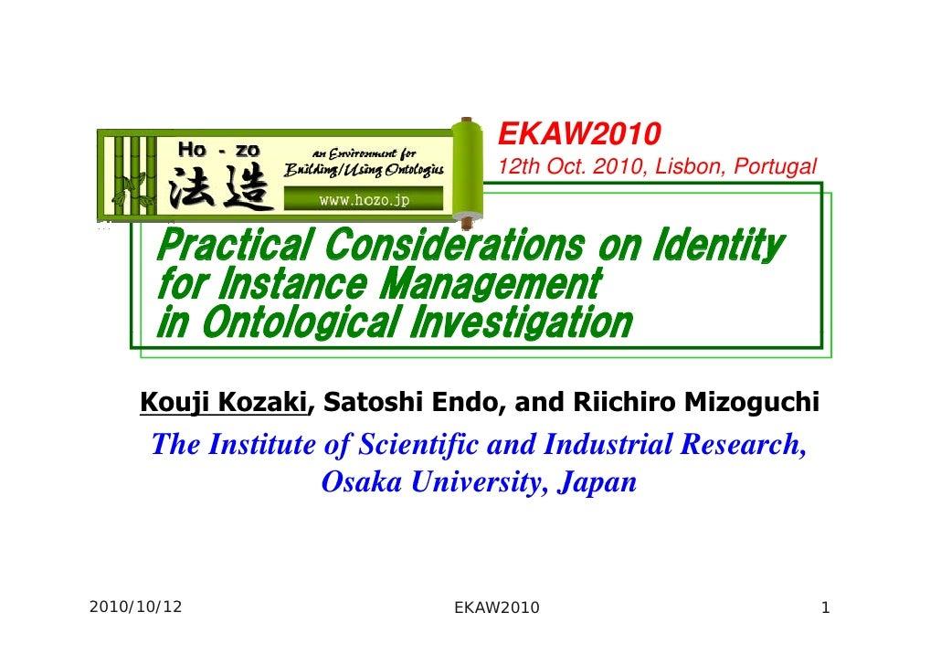 EKAW2010                                  12th Oct. 2010, Lisbon, Portugal          Practical Considerations on Identity  ...