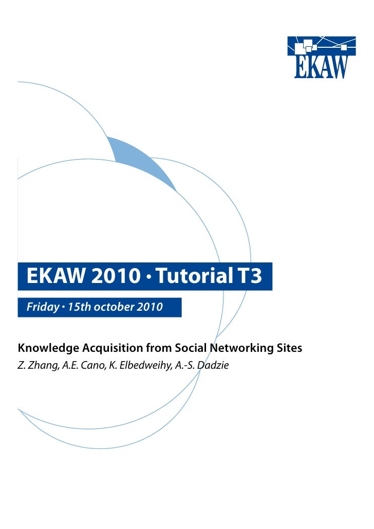 EKAW 2010 • Tutorial T3   Friday • 15th october 2010   Knowledge Acquisition from Social Networking Sites Z. Zhang, A.E. C...