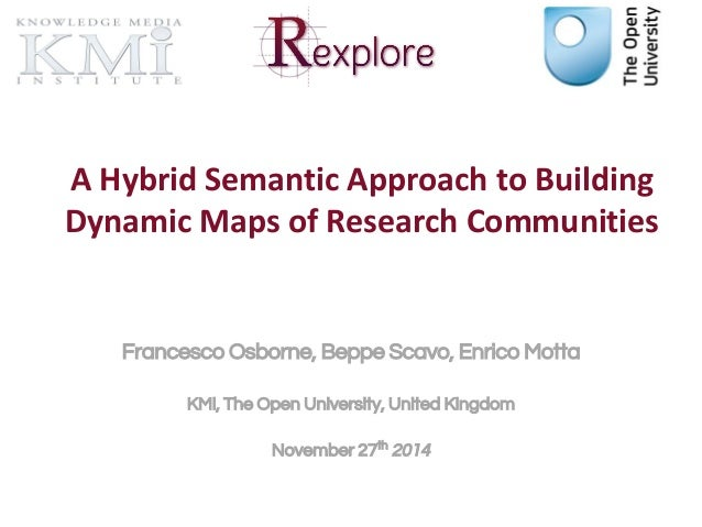 A Hybrid Semantic Approach to Building  Dynamic Maps of Research Communities  Francesco Osborne, Beppe Scavo, Enrico Motta...