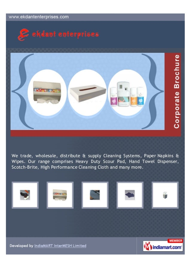 We trade, wholesale, distribute & supply Cleaning Systems, Paper Napkins &Wipes. Our range comprises Heavy Duty Scour Pad,...