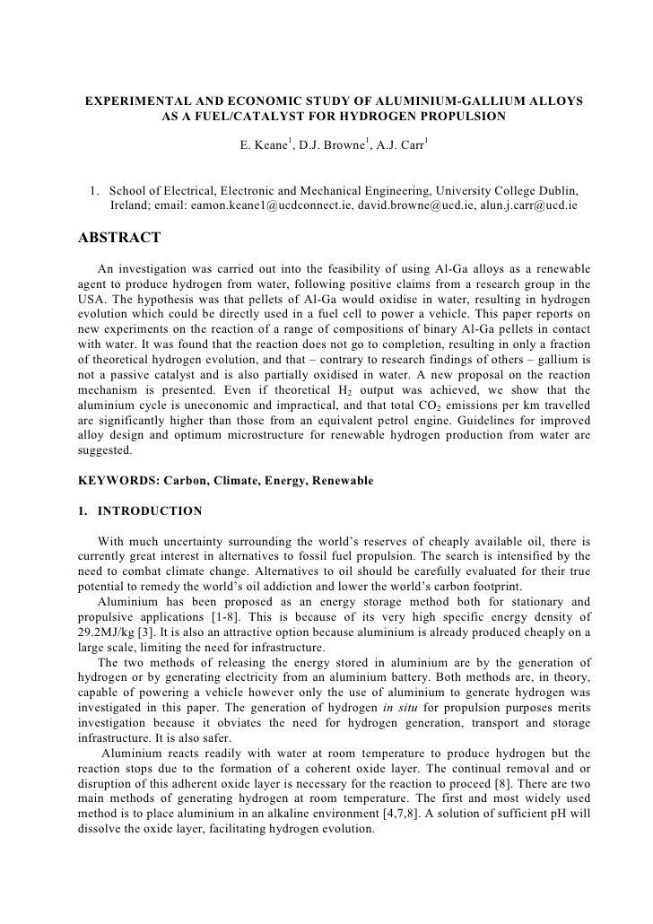 EXPERIME TAL A D ECO OMIC STUDY OF ALUMI IUM-GALLIUM ALLOYS           AS A FUEL/CATALYST FOR HYDROGE PROPULSIO            ...