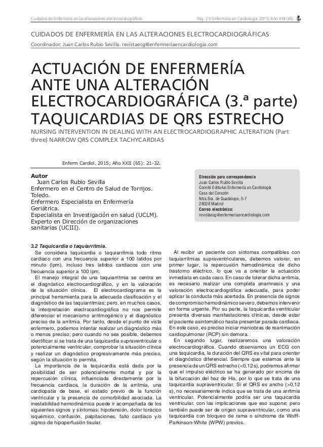 Pág. 21/ Enfermería en Cardiología. 2015; Año XXII (65)Cuidados de Enfermería en las alteraciones electrocardiográficas Di...