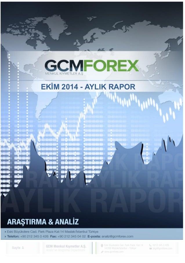 1  EKİM - 2014  GCM MENKUL KIYMETLER A.Ş.  ARAŞTIRMA VE ANALİZ DEPARTMANI  EKİM 2014 - AYLIK RAPOR