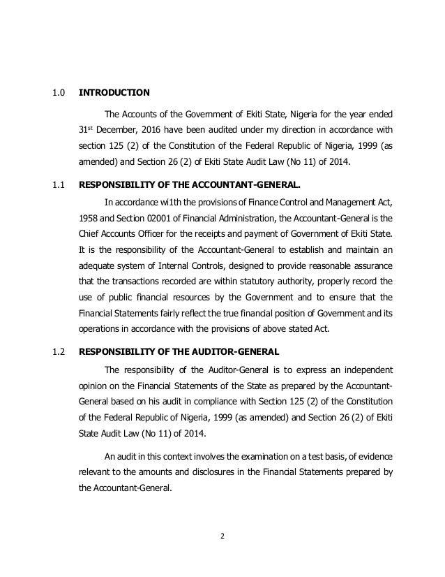 Ekiti State Auditor General's Report for Year 2016 Slide 2