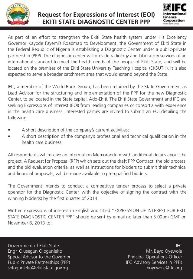 Request for Expressions of Interest (EOI) EKITI STATE DIAGNOSTIC CENTER PPP As part of an effort to strengthen the Ekiti S...
