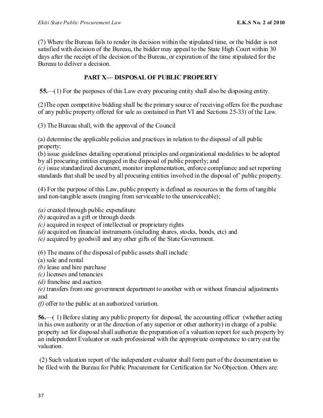 Ekiti State Public Procurement Law E.K.S No. 2 of 2010 (7) Where the Bureau fails to render its decision within the stipul...