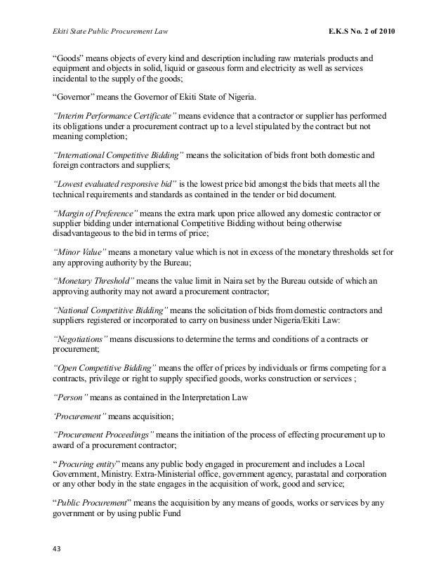 Ekiti State Public Procurement Law