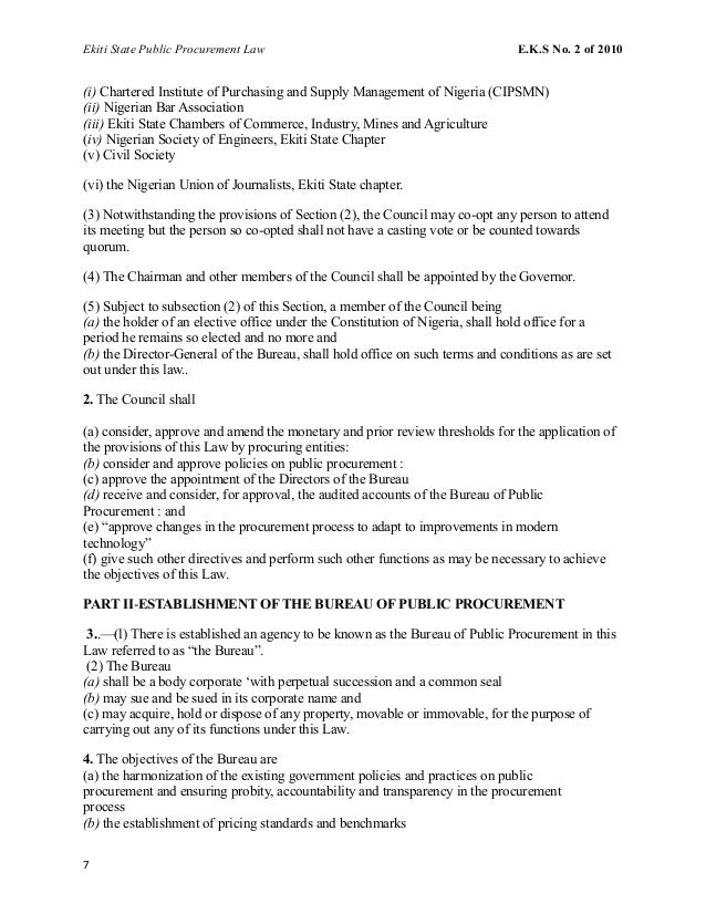 Ekiti State Public Procurement Law E.K.S No. 2 of 2010 (i) Chartered Institute of Purchasing and Supply Management of Nige...