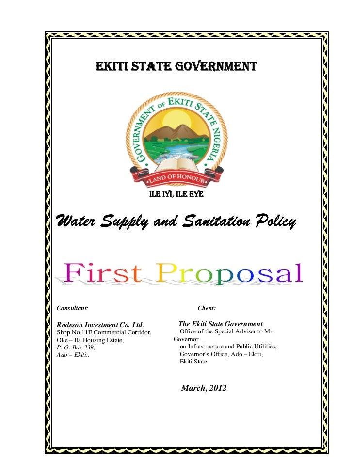 EKITI STATE GOVERNMENT                               ILE IYI, ILE EYEWater Supply and Sanitation PolicyConsultant:        ...
