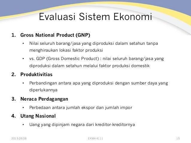 Evaluasi Sistem Ekonomi 1. Gross National Product (GNP) • Nilai seluruh barang/jasa yang diproduksi dalam setahun tanpa ...