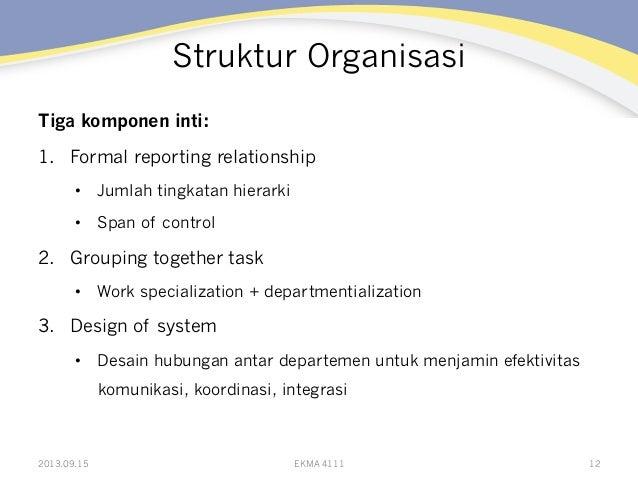 Struktur Organisasi Tiga komponen inti: 1. Formal reporting relationship • Jumlah tingkatan hierarki • Span of control ...