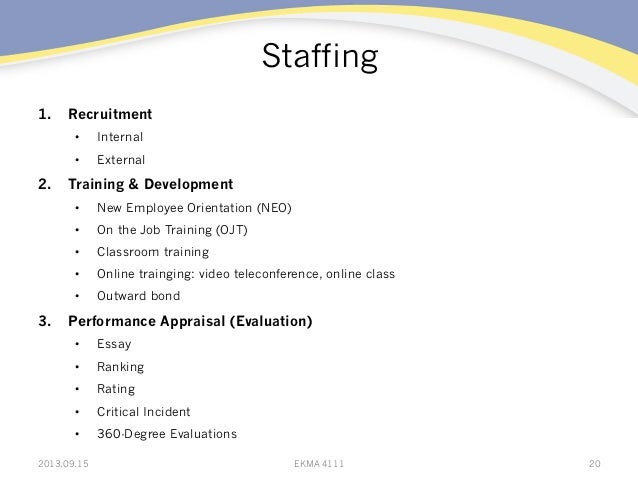 Staffing 1. Recruitment • Internal • External 2. Training & Development • New Employee Orientation (NEO) • On the Jo...