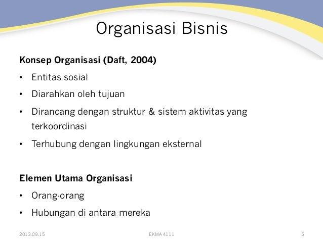 Organisasi Bisnis Konsep Organisasi (Daft, 2004) • Entitas sosial • Diarahkan oleh tujuan • Dirancang dengan struktur &...