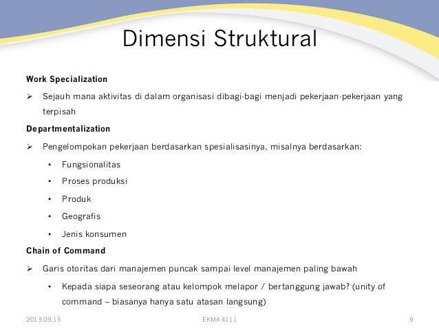 Dimensi Struktural Work Specialization Ø Sejauh mana aktivitas di dalam organisasi dibagi-bagi menjadi pekerjaan-pekerja...