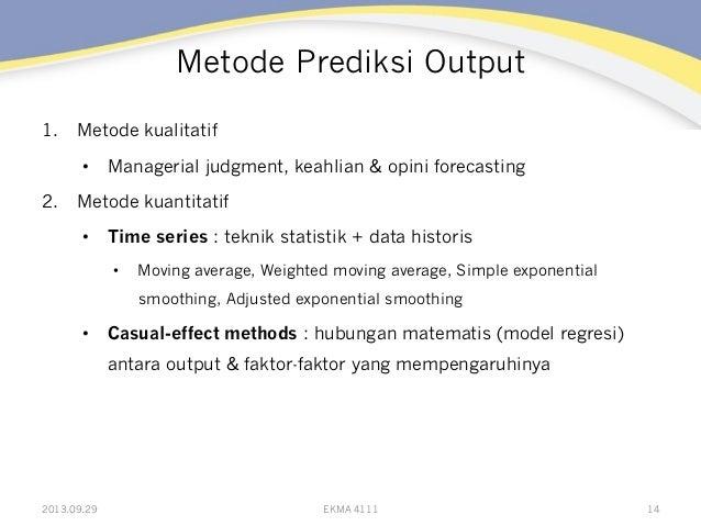 Metode Prediksi Output 1. Metode kualitatif • Managerial judgment, keahlian & opini forecasting 2. Metode kuantitatif •...