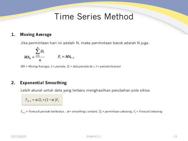 Time Series Method 1. Moving Average Jika permintaan hari ini adalah N, maka permintaan besok adalah N juga. MA = Moving ...