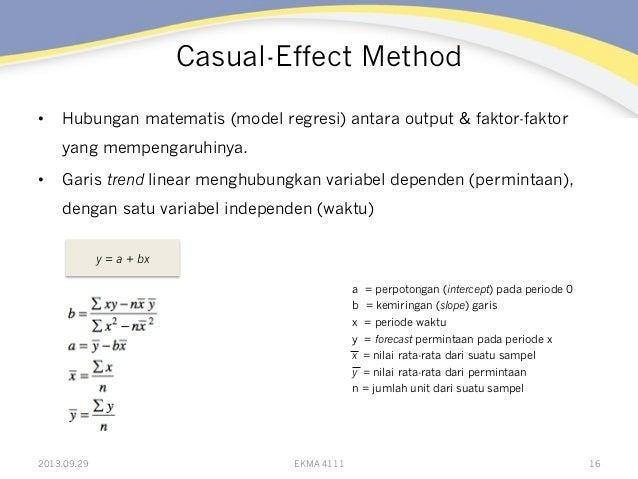 Casual-Effect Method • Hubungan matematis (model regresi) antara output & faktor-faktor yang mempengaruhinya. • Garis tr...