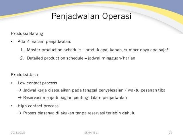 Penjadwalan Operasi Produksi Barang • Ada 2 macam penjadwalan: 1. Master production schedule – produk apa, kapan, sumber...