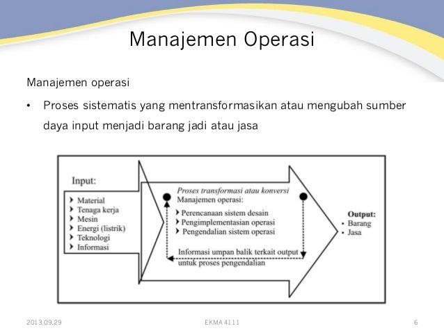 Manajemen Operasi Manajemen operasi • Proses sistematis yang mentransformasikan atau mengubah sumber daya input menjadi b...
