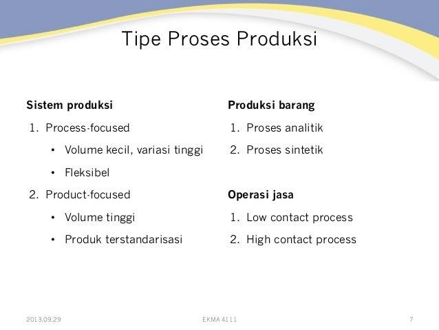 Tipe Proses Produksi Sistem produksi 1. Process-focused • Volume kecil, variasi tinggi • Fleksibel 2. Product-focused ...
