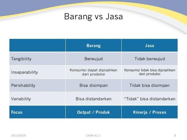Barang vs Jasa Barang Jasa Tangibility Berwujud Tidak berwujud Inseparability Konsumsi dapat dipisahkan dari produksi Kons...