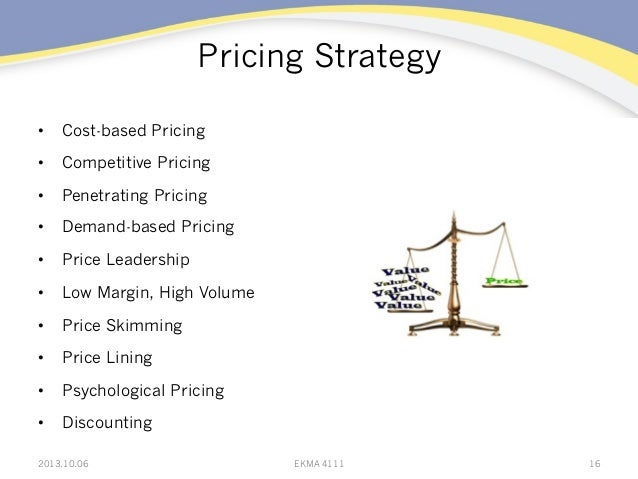 Pricing Strategy • Cost-based Pricing • Competitive Pricing • Penetrating Pricing • Demand-based Pricing • Price Lead...
