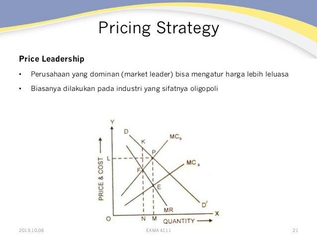 Pricing Strategy Price Leadership • Perusahaan yang dominan (market leader) bisa mengatur harga lebih leluasa • Biasanya...