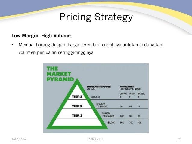 Pricing Strategy Low Margin, High Volume • Menjual barang dengan harga serendah-rendahnya untuk mendapatkan volumen penju...