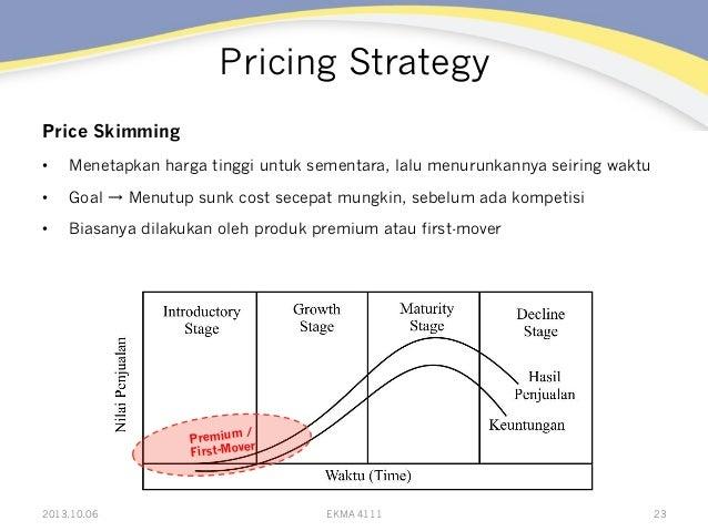 Pricing Strategy Price Skimming • Menetapkan harga tinggi untuk sementara, lalu menurunkannya seiring waktu • Goal → Men...