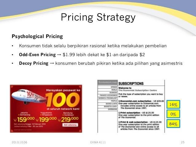 Pricing Strategy Psychological Pricing • Konsumen tidak selalu berpikiran rasional ketika melakukan pembelian • Odd-Even...