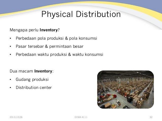 Physical Distribution Mengapa perlu Inventory? • Perbedaan pola produksi & pola konsumsi • Pasar tersebar & permintaan b...