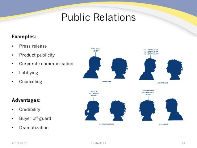 Public Relations Examples: • Press release • Product publicity • Corporate communication • Lobbying • Counceling Adva...