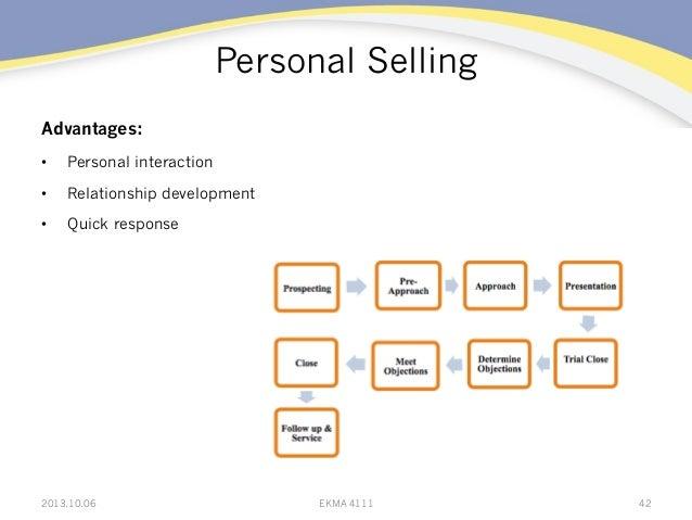 Personal Selling Advantages: • Personal interaction • Relationship development • Quick response 2013.10.06 EKMA 4111 42